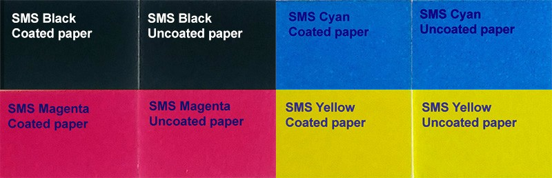 The SMS CMYK colors are identical whether they are printed on coated or uncoated paper. Customers simply order the correct CMYK value depending on the substrate and depending on the printing standard of the printer.